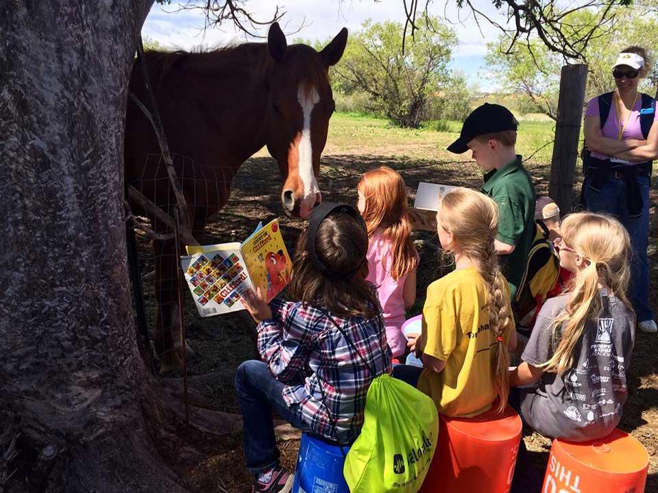 Kiddos reading to Roja at Kindness Camp
