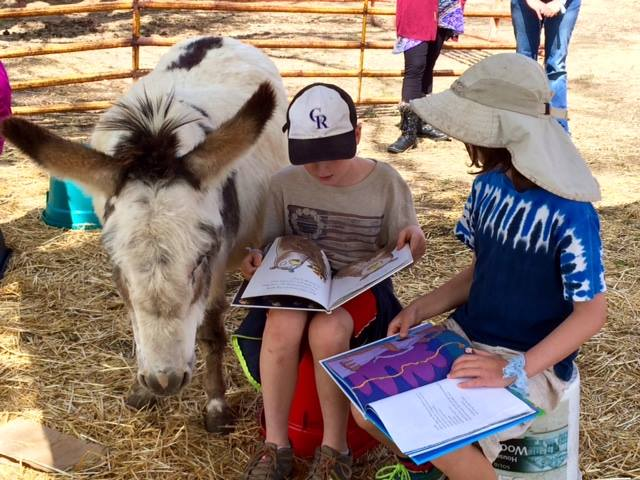 Children reading to one of the donkeys at the Project: THRIVE barn