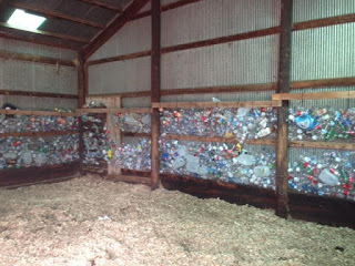 Plastic bottle insulation at the barn